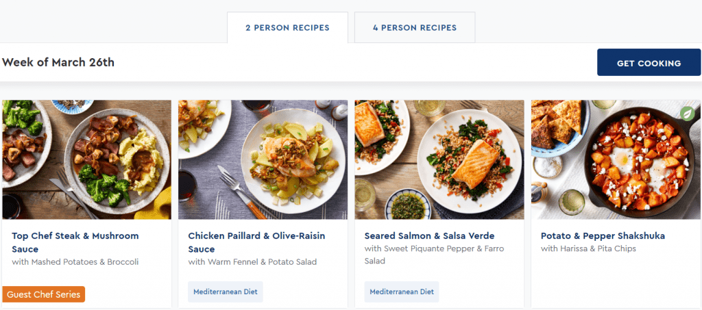 Blue Apron Meal Plans