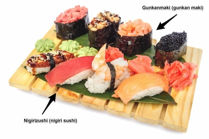 Nigirizushi, nigiri sushi and gunkanmaki, gunkan maki